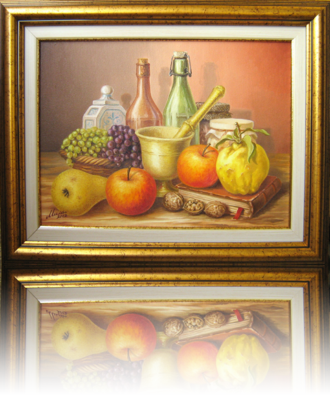 Jam - Still Life with grapes, apples, quince, pear and walnuts