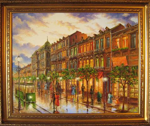 Стара София - Булевард Дондуков, след дъжд. Масло/платно 56х48 см. Автор - Мила Василева