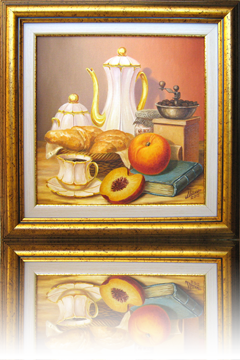 Breakfast - Still life with coffee, croissants and apple