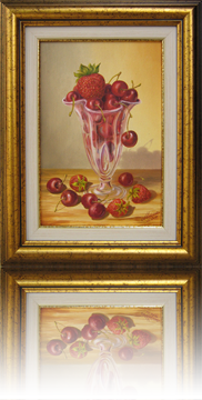 Still life with cherries and strawberries