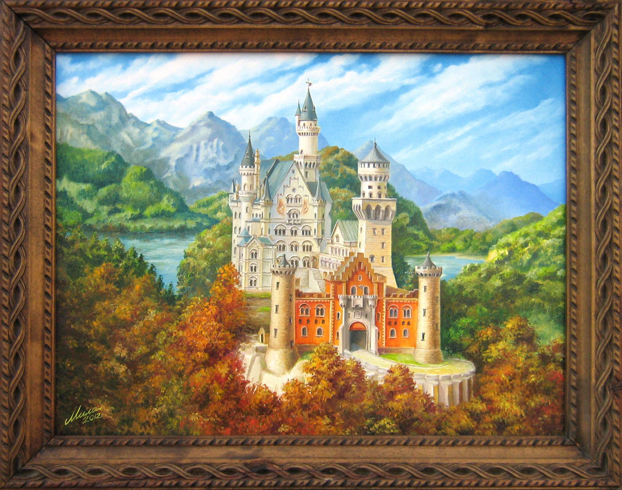 Schloss Neuschwanstein Mila Vasileva Paintings Old Times Art Studio