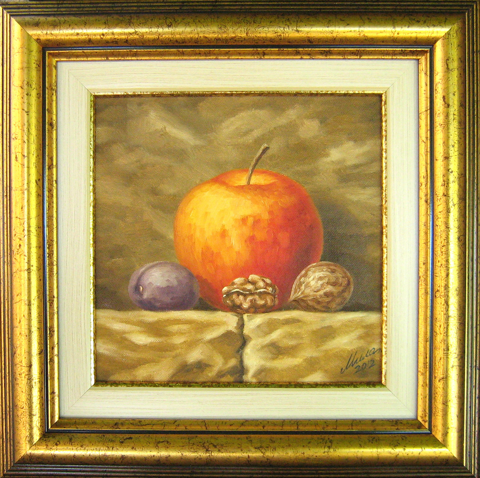tryptich above the fireplace apple plum and walnuts mila